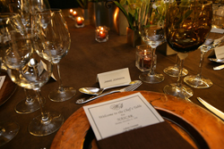 The place setting for NASCAR Sprint Cup Series champion Jimmie Johnson is ready at the Chef's Table at the Waldorf=Astoria in New York City on Monday. The dinner kicked off Champions Week. (Photo Credit: Chris Trotman/Getty Images for NASCAR)