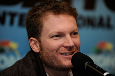 NASCAR Sprint Cup driver Dale Earnhardt Jr. talked about everything from barbeque ribs and driver Brad Keselowski to racing in Talladega and what he names his cars in a news conference Saturday at Preseason Thunder Fan Fest at Daytona International Speedway. (Photo Credit: Rusty Jarrett/Getty Images for NASCAR)