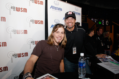 Country music star Jason Michael Carroll and NASCAR Sprint Cup Series driver Kyle Petty pose for a picture during the 2008 edition of Sprint Sound and Speed Presented by SunTrust. Both are scheduled to be back at the event this year on Jan. 9-10. (Photo Credit: Sprint Sound and Speed)