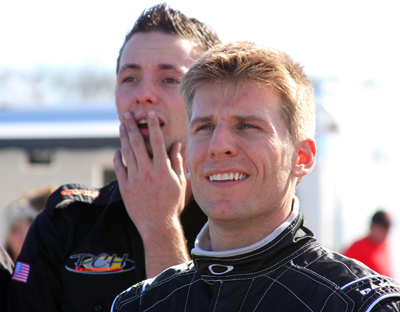 Jamie McMurray shares a fun moment with a member of his team during Daytona KartWeek By Cometic Gasket at Daytona International Speedway. (Photo Credit: Motorsports Images & Archives)