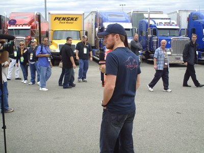 Brian Vickers waits to be interviewed by SPEED at Auto Club Speedway in Fontana, CA on Sunday, February 22, 2009. (photo credit: The Fast and the Fabulous)