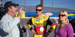 NASCAR Driver Clint Bowyer and host Alison Sweeney get instructions from The Biggest Loser Director Neil DeGroot.  (Photo Courtesy Auto Club Speedway)