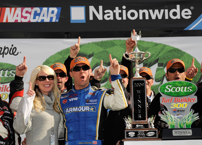 Kevin and Delana Harvick celebrate winning the Scotts Turf Builder 300 at Bristol Motor Speedway, Kevin's first NASCAR Nationwide Series victory for Kevin Harvick Inc. (Photo Credit: Rusty Jarrett/Getty Images for NASCAR)