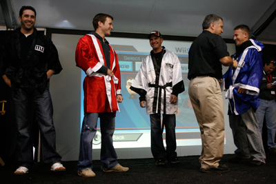 (L-R): Elliott Sadler, Kasey Kahne, Clint Bowyer and AJ Allmendinger are introduced before the Wii Boxing tournament during Food City Race Night at Bristol Motor Speedway. (Photo Credit: Getty Images for NASCAR)
