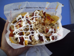 BBQ Pulled Pork Nachos in the Neon Garage at Las Vegas Motor Speedway (photo credit: The Fast and the Fabulous)