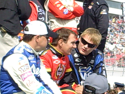 Jason Keller, Mike Bliss and Steve Wallace chat before driver introductions for the Sam's Town 300 at Las Vegas Motor Speedway on Saturday, February 28, 2009 (photo credit: The Fast and the Fabulous)