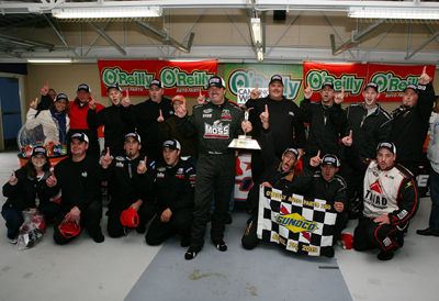 Mike Skinner and his No. 5 Bad Boy Mowers Toyota team celebrate winning the O'Reilly Auto Parts 250 at Kansas Speedway. The win was Skinner's first of the season and the first for the team since becoming Randy Moss Motorsports last summer. (Photo Credit: Darrell Ingham/Getty Images)