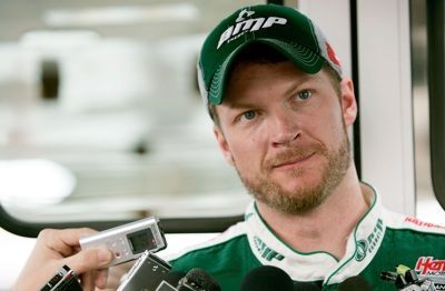 Dale Earnhardt Jr. speaks with media about meetings he had during the week with team owner Rick Hendrick and crew chief Tony Eury Jr. (Photo Credit: Jerry Markland/Getty Images for NASCAR)