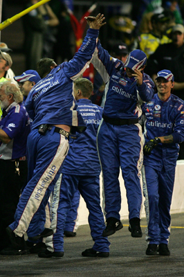 Crew members for Greg Biffle's No. 16 Ford celebrate winning the Bashas' Supermarkets 200 at Phoenix International Raceway. (Photo Credit: Todd Warshaw/Getty Images)