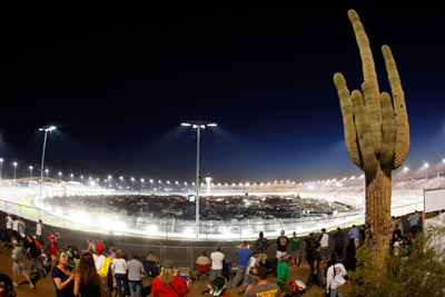 Track conditions changed drastically as the sun set and the final portion of the Subway Fresh Fit 500 at Phoenix International Raceway was run under the lights. (Photo Credit: Chris Graythen/Getty Images for NASCAR)