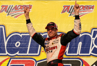 David Ragan, driver of the No. 6 Discount Tire Ford, celebrates his first NASCAR national racing series win Saturday in Victory Lane after capturing the checkered flag at the NASCAR Nationwide Series Aaron's 312 at Talladega Superspeedway. (Photo Credit: Rusty Jarrett/Getty Images for NASCAR)