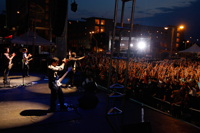 O.A.R. thanks for the fans for coming out Wednesday in Uptown Charlotte for NASCAR Rev'd Up, kicking off NASCAR Sprint All-Star Race week. (Photo Credit: Chris Keane/Getty Images for Sprint)