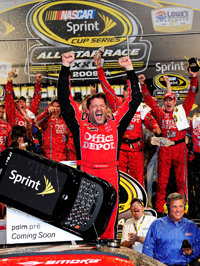 Tony Stewart celebrates winning the NASCAR Sprint All-Star Race, his first victory as a team owner. Stewart joined Geoffrey Bodine (1994) as the only two driver/owners to win the NASCAR Sprint All-Star Race. (Photo Credit: Rusty Jarrett/Getty Images for NASCAR)