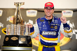 David Reutimann celebrates winning the Coca-Cola 600 at Lowe's Motor Speedway, his first career NASCAR Sprint Cup Series victory. (Photo Credit: Rusty Jarrett/Getty Images for NASCAR)