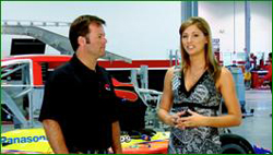 Athena Barber interviews Robby Gordon for an upcoming episode of 3 Wide Life