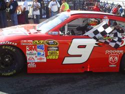 Kasey Kahne drives his No. 9 Budweiser Dodge to Victory Lane at the Toyota/SaveMart 350 at Infineon Raceway on Sunday, June 21, 2009 (photo credit: The Fast and the Fabulous)