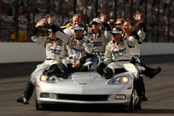 The No. 48 team celebrates their win during Sunday's Brickyard 400 at Indianapolis Motor Speedway. (Courtesy Hendrick Motorsports)
