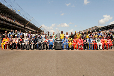 The field of 43 drivers poses for a photo before the start of the Allstate 400 at The Brickyard at Indianapolis Motor Speedway. (Photo Credit: John Harrelson/Getty Images for NASCAR)