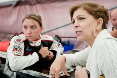 (Left to right) Taylor Earnhardt and Teresa Earnhardt share a moment before Taylor drives the famed No. 3 GM Goodwrench The Goodwood Festival of Speed at The Goodwood Estate on Friday in Chichester, England. (Photo Credit: Peter Fox/Getty Images for NASCAR)