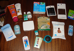 What do you bring with you for race day? A visual of some of the items from Dawn's list