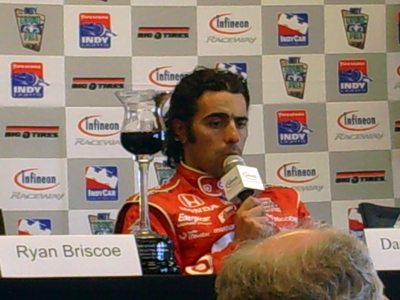 Dario Franchitti chats with the media on Sunday, August 23, 2009 at the Indy Grand Prix of Sonoma at Infineon Raceway (photo credit: The Fast and the Fabulous)