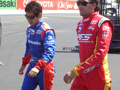 Hideki Mutoh and Franck Montagny walk to the stage for driver introductions on Sunday, August 23, 2009 at the Indy Grand Prix of Sonoma at Infineon Raceway (photo credit: The Fast and the Fabulous)