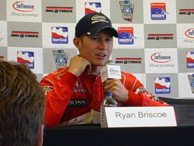 Ryan Briscoe speaks with the media on Sunday, August 23, 2009 at the Indy Grand Prix of Sonoma at Infineon Raceway (photo credit: The Fast and the Fabulous)