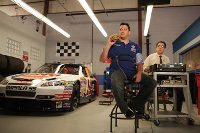 Tony Stewart, driver/owner at Stewart-Haas Racing, climbs into the hot seat to prove his love for the famous WHOPPER sandwich in the latest ad campaign for BURGER KING restaurants. The ad titled, Polygraph Prep, is the last in a series of four ads that begin airing on Sept. 7, 2009. Visit www.bkracing.com for more information on Burger King Corp.s national promotion with Stewart-Haas Racing.