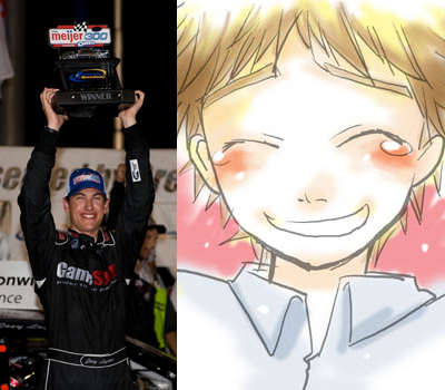 Joey Logano Anime comparison (left photo credit: Getty Images for NASCAR)
