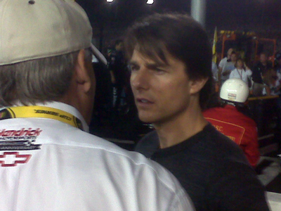 Tom Cruise chats with team owner Rick Hendrick on pit road prior to the Chevy Rock &#038; Roll 400 at Richmond International Raceway. (Photo Credit: Andrew Giangola)