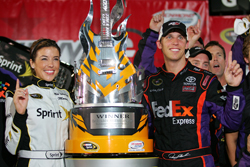 Denny Hamlin celebrates winning the Chevy Rock & Roll 400 at Richmond International Raceway, his second victory of the season. (Photo Credit: Todd Warshaw/Getty Images for NASCAR)