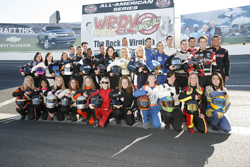 Drivers at the 2009 Drive for Diversity Combine pose for a group photo before the on-track portion of the event at Motor Mile Speedway in Radford, Va. (Photo Credit: Tom Whitmore/Getty Images for NASCAR)
