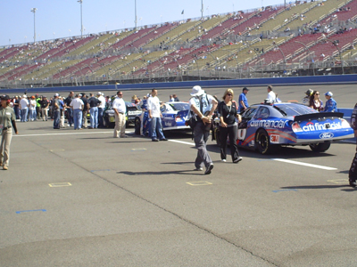 Pit road before the start of the Copart 300 on Saturday, October 10, 2009 at Auto Club Speedway in Fontana, CA (photo credit: The Fast and the Fabulous)