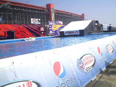 The Wakeboard Rail Jam demonstrations area on Saturday, October 10, 2009 at Auto Club Speedway in Fontana, CA (photo credit: The Fast and the Fabulous)