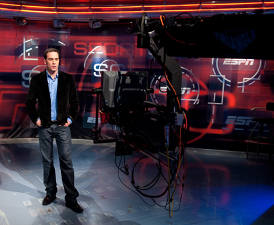 NASCAR Sprint Cup Series champion Jimmie Johnson records a tease for SportsCenter during a visit Monday to the Bristol, Conn. campus of ESPN, only hours after becoming the first driver to win four consecutive titles. (Photo Credit: Joe Faraoni/ESPN)