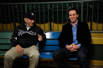 Ten-time World Series champion Yogi Berra talks about his dynastic days with the New York Yankees with four-time NASCAR Sprint Cup Series champion Jimmie Johnson on Monday at the Yogi Berra Museum and Learning Center in Little Falls, N.J. (Photo Credit: Jeff Zelevansky/Getty Images for NASCAR)