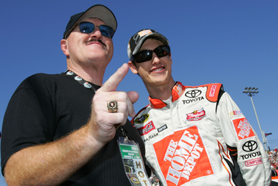 Joey Logano poses with honorary race official Sgt. Slaughter prior to the Checker O'Reilly Auto Parts 500 presented by Pennzoil at Phoenix International Raceway. (Photo Credit: Rusty Jarrett/Getty Images for NASCAR)