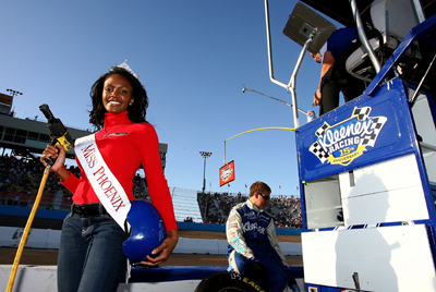 Miss Phoenix Ursulline Okonkwo served as an honorary crew member for Baker-Curb Racing during the Able Body Labor 200 at Phoenix International Raceway. (Photo Credit: Darrell Ingham/Getty Images)