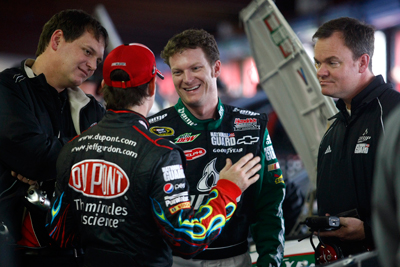 Crew chief Steve Letarte and driver Jeff Gordon (No. 24 DuPont Chevrolet) chat with driver Dale Earnhardt Jr. and crew chief Lance McGrew (No. 88 AMP Energy