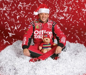 Tony Stewart with 2009 Office Depot Foundation Teddy B. Caring (photo credit: Action Sports Photography)