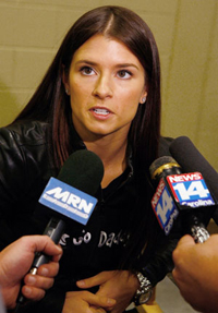 NASCAR Nationwide Series driver Danica Patrick talks about running races in February at Auto Club Speedway and Las Vegas Motor Speedway in 2010 in the No. 7 GoDaddy.com Chevrolet Thursday at JR Motorsports in Mooresville, N.C. (Photo Credit: Jason Smith/Getty Images)