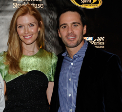 (Credit: Ethan Miller/Getty Images for NASCAR)<br /> (Right to left) Four-time NASCAR Sprint Cup Series champion Jimmie Johnson and wife Chandra attend the NASCAR Evening Series with Emeril Lagasse (not pictured) at Delmonico Steakhouse in the Venetian Resort Hotel &#038; Casino during NASCAR Sprint Cup Series Champions Week Wednesday in Las Vegas.
