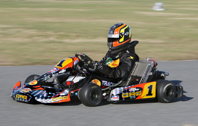 NASCAR Sprint Cup Series driver Jamie McMurray takes his No. 1 Bass Pro Shops go-kart, decked out like the car he'll drive during Daytona Speedweeks, while participating in Daytona KartWeek By Cometic Gasket events at Daytona International Speedway.(Credit: Don Bok/Motorsports Images and Archives)