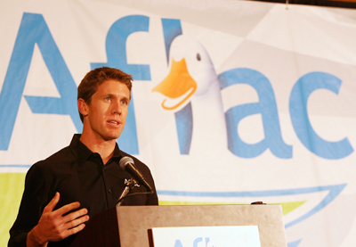 Carl Edwards talks about rebounding in 2010 on Tuesday in Concord, N.C. during the NASCAR Sprint Media Tour Hosted by Charlotte Motor Speedway. (Credit: Harold Hinson Photography)