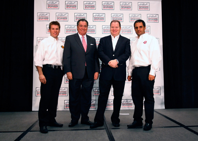 At the Earnhardt Ganassi Racing NASCAR Sprint Cup Media Tour stop Thursday in Concord, N.C., Jamie McMurray, Felix Sabates, Chip Ganassi and Juan Pablo Montoya pose for a team photo. (Credit: Jason Smith/Getty Images)