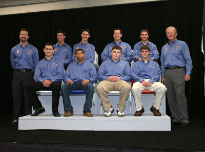Joe Gibbs Racing poses for a team photo during NASCAR Sprint Media Tour in Concord, N.C. Top row is Joe Gibbs Racing president J.D. Gibbs, NASCAR Sprint Cup Series drivers Denny Hamlin, Joey Logano and Kyle Busch, NASCAR Nationwide Series driver Matt DiBenedetto. Bottom row is NASCAR Nationwide Series driver Brad Coleman with NASCAR Camping World Series East drivers Darrell Wallace Jr., Brett Moffitt and Max Gresham. (Credit: Harold Hinson Photography)