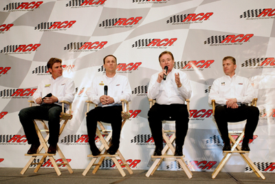 (Left to right) Richard Childress Racing's Clint Bowyer, Kevin Harvick, owner Richard Childress and Jeff Burton take part in the 2010 NASCAR Sprint Media Tour Hosted by Charlotte Motor Speedway Tuesday in Concord, N.C. (Credit: Harold Hinson Photography)