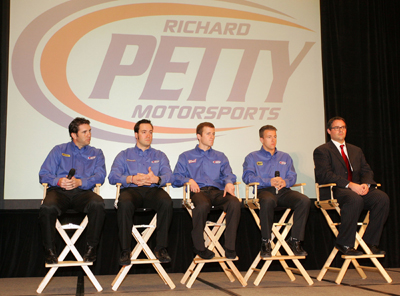 (Left to right) Richard Petty Motorsports' Elliott Sadler, Paul Menard, Kasey Kahne, AJ Allmendinger and Foster Gillett answer questions during the NASCAR Sprint Media Tour Tuesday in Concord, N.C. (Credit: Harold Hinson Photography)