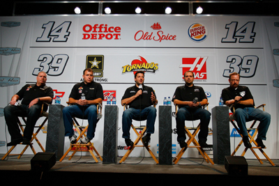 No. 39 crew chief Tony Gibson, NASCAR Sprint Cup Series drivers Ryan Newman and Tony Stewart, No. 14 crew chief No. Darian Grubb and Stewart-Haas Racing competition director Bobby Hutchens meet the media during the NASCAR Sprint Media Tour Monday.(Credit: Jason Smith/Getty Images)