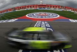 Earning his fifth victory at Auto Club Speedway, Jimmie Johnson crosses the finish line in the No. 48 Lowe's/Kobalt Tools Chevrolet during the NASCAR Sprint Cup Series Auto Club 500. (Credit: Jeff Gross/Getty Images)